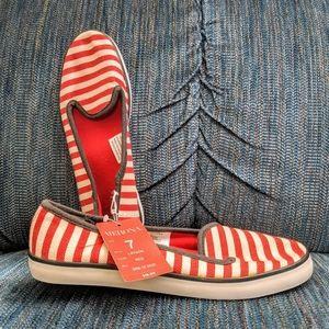 NWT 7 Merona Slip-on sneaker flats red white blue